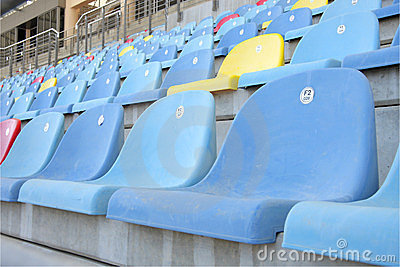 Close view of seats in main grandstand of BIC