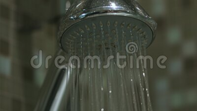 Water is flowing from shower stock video footage
