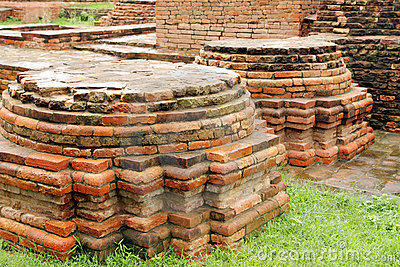 Close view of Votive Stupas ruins at Sarnath,India