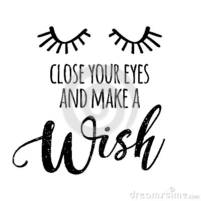 Close your eyes and make a Wish Vector Illustration