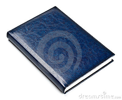 Closed blue leather notebook