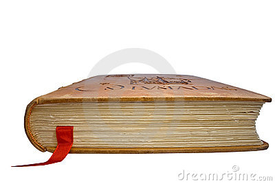 Closed book with a book-mark