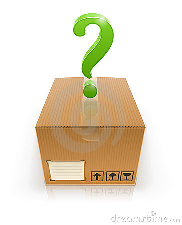 Closed box with question mark