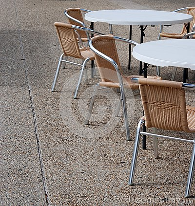 Closed cafe tables and chairs