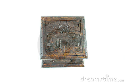 Closed carved wooden box