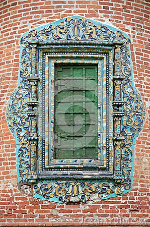 Closed church window with glased ornate tile