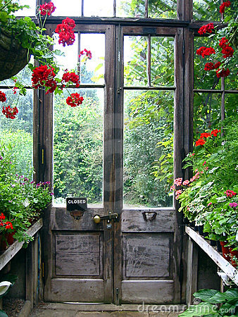 Closed door in a secret garden