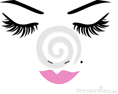 Closed Eyes and lips Vector Illustration