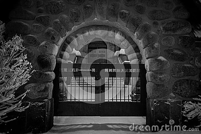 Closed gates in stone arch