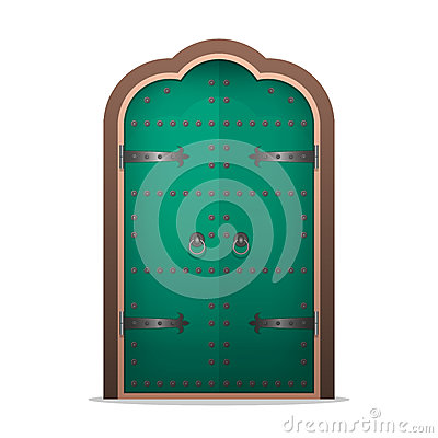 Closed the iron door in flat style. Vector illustration isolated Vector Illustration
