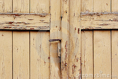 Closed and locked old door