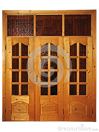 Closed natural wooden triple door