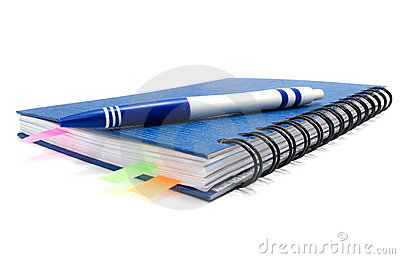 Closed notebook with bookmarks and pen