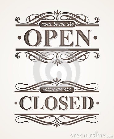 Closed and Open ornate retro signs