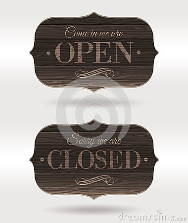Closed and Open wooden retro signs