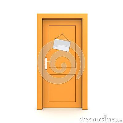 Closed Orange Door With Dummy Door Sign