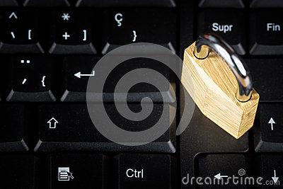 Closed padlock on a computer keyboard