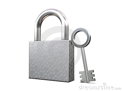 Closed padlock and key