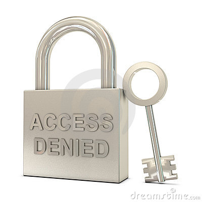 Closed padlock, key and access denied text