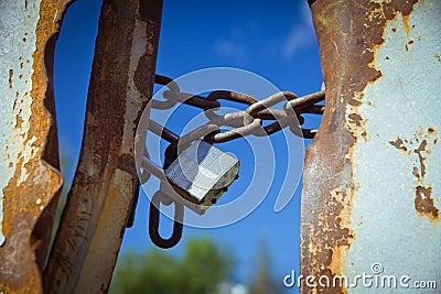 Closed padlock in the sky