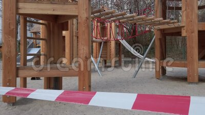 Closed Playground With Barrier Tape Due To Corona Pandemic In Berlin, Germany stock video