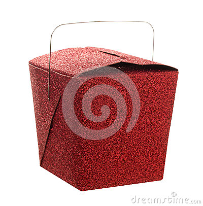 Closed red glitter Chinese food take out gift box