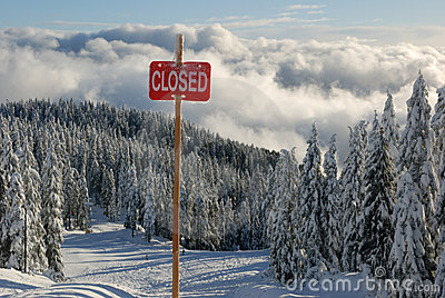Closed sign at trail head