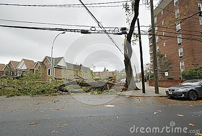 A closed street after Hurricane Sandy Editorial Photography