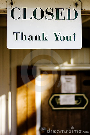Closed thank you sign