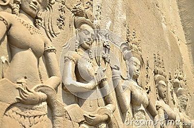 Closed up depicting Temple Wall Angkor Wat
