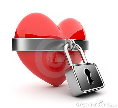 Closed valentine heart and lock 3D. Isolated