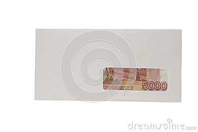 Closed white envelope with ruble