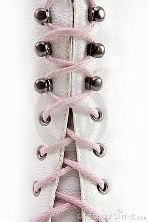 Closed white long boot pink thread