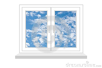Closed window with a kind on blue sky on a white background