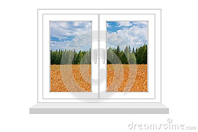 Closed window with a kind on the field of wheat