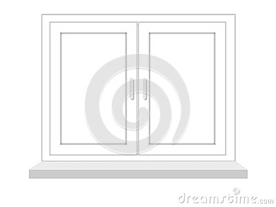 Closed window on a white background, it is isolated