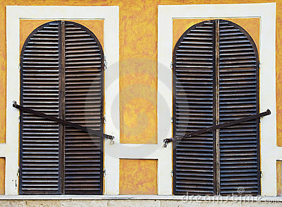Closed windows with grates