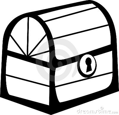 closed wooden chest. Vector file format available.