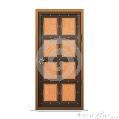 Closed wooden door in flat style. Vector illustration isolated o Vector Illustration