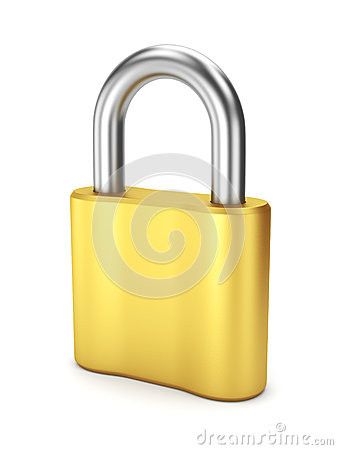 Closed yellow metal lock