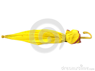 Closed yellow umbrella