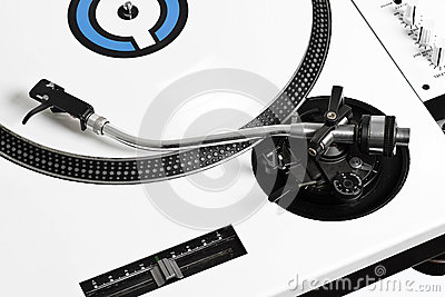 Closedup dj turntable with white vinyl