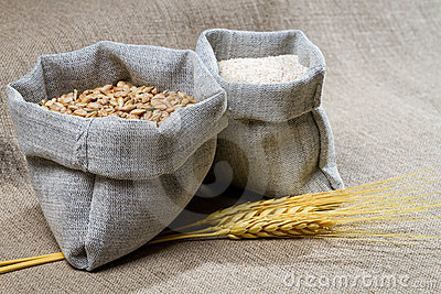 Closep Canvas Sack Of Seed Stock Photos - Image: 24270673