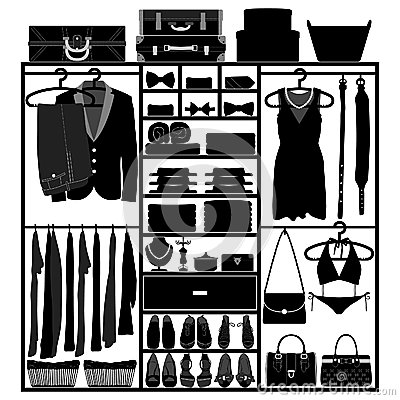 Free Closet Wardrobe Cupboard For Man Woman Fashion Royalty Free Stock Image - 25897836