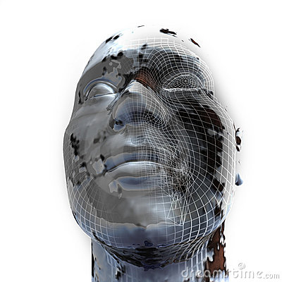 Closeup of 3d Head on white background