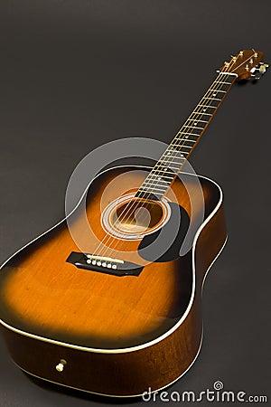 Closeup of an acoustical guitar