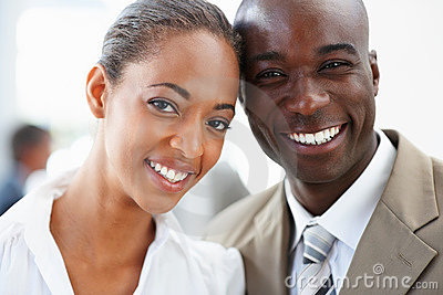 Closeup of African American business people