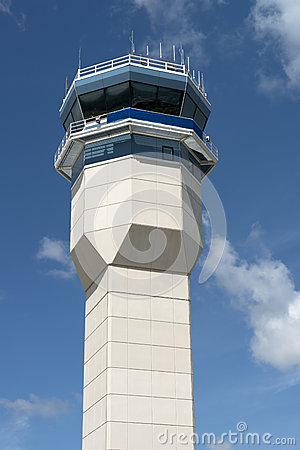 Closeup of Airport Air Traffic Control Tower