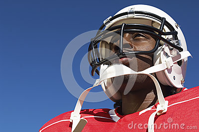Closeup Of American Football Player In Helmet
