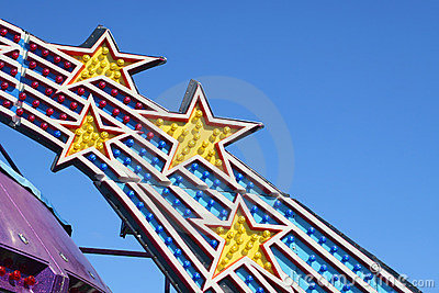 Closeup of Amusement Park Ride Lights